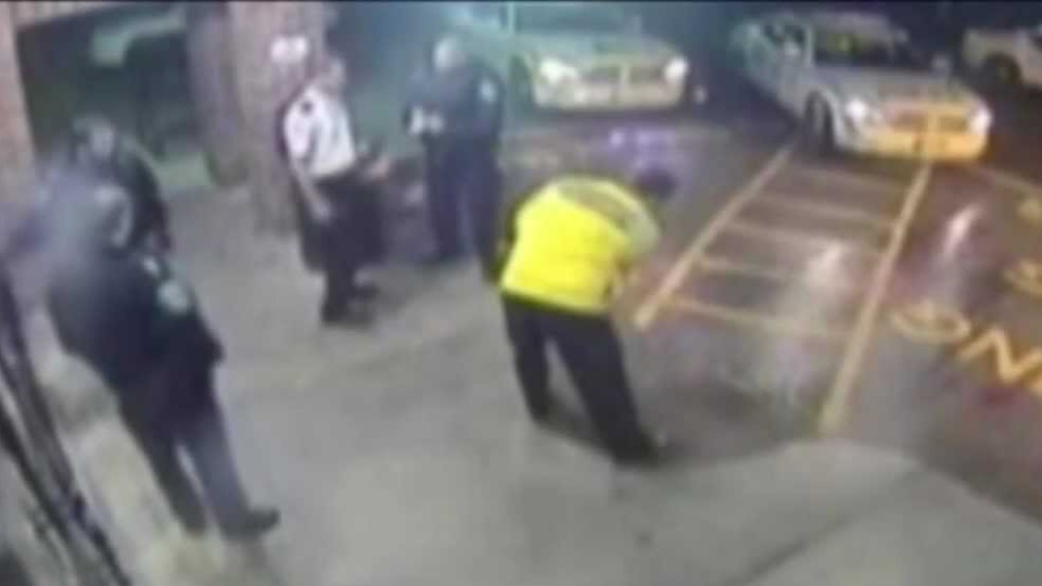 Security camera footage shows an altercation between Barrie Const. Jason Nevill and Jason Stern outside the Bayfield Mall in Barrie, Ont. in November 2010.