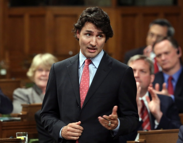 Liberal Leader Justin Trudeau stands in the House of Commons during Question Period on Parliament Hill, in Ottawa, Monday June 17, 2013. (Fred Chartrand / THE CANADIAN PRESS)