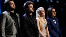 Zach Swon, Colton Swon of The Swon Brothers, Danielle Bradbery and Michelle Chamuel pose during season-four of 'The Voice' Tuesday June 18, 2013. (NBC / Trae Patton)