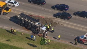 Dump truck rollover on Green Lane