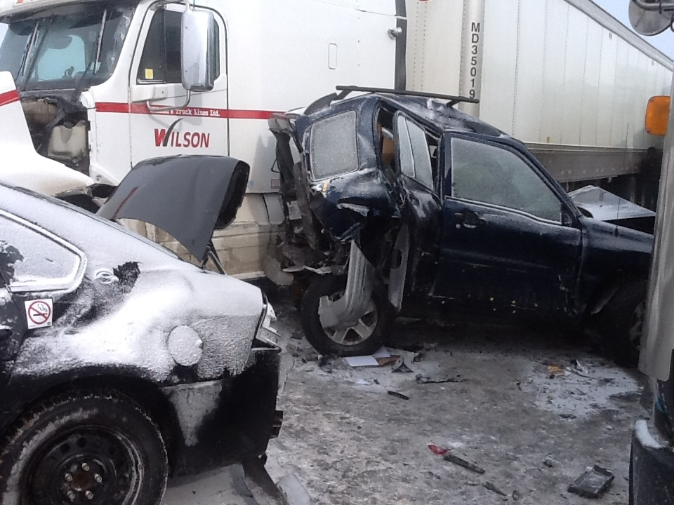 look at the crash on Hwy. 400 south of Innisfil on February 27th