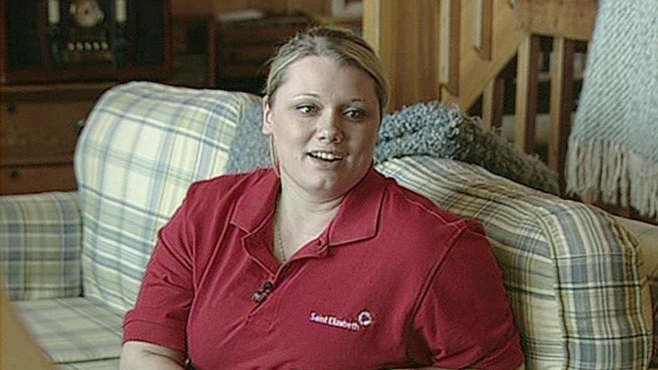 Eryn Fraser is a personal support worker who works with Allenby Boake at home.