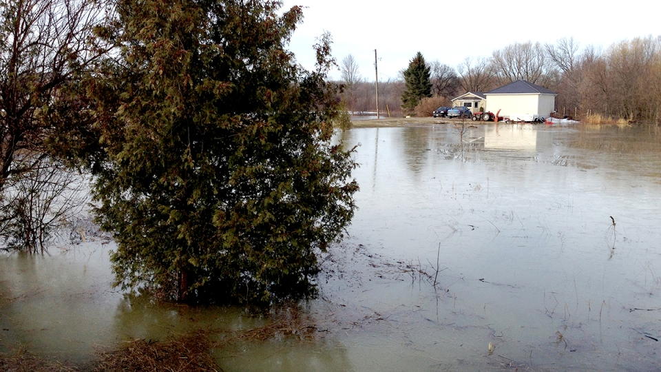 Flooding is seen in Springwater Township April 11, 2014. (Springwater Township photo)