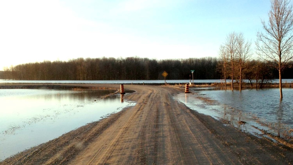 Flooding is seen in Springwater Township along Glengarry Landing Road April 11, 2014. (Springwater Township photo)