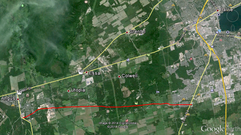 The path of the tornado that touched down in Angus June 17, 2014 is displayed in this map. (Source: Environment Canada)