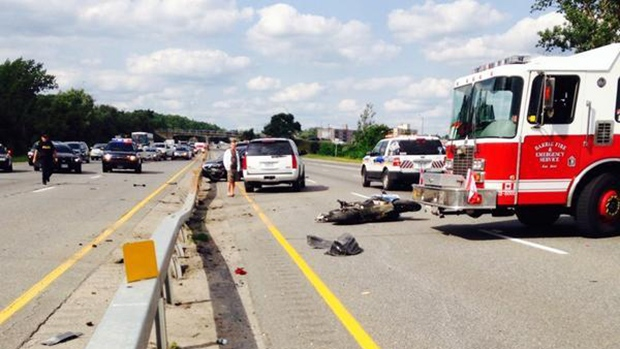 fatal crash involving a motorcycle on Highway 400 is seen July 25