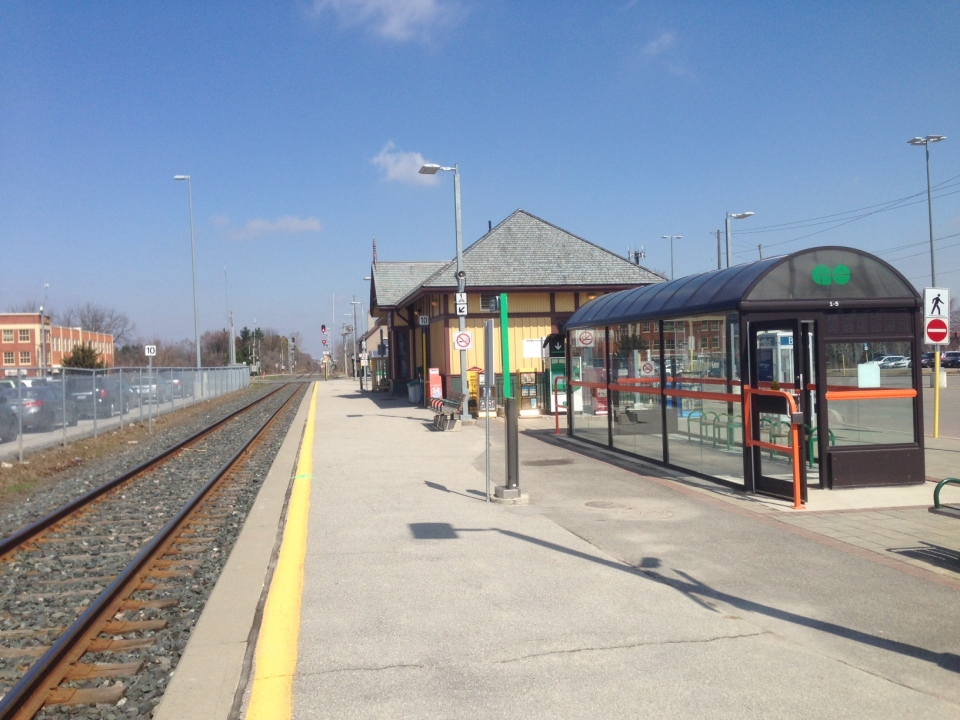 More GO trains will start coming through the GO station in Aurora thanks to funding announced by the provincial government on Friday, April 17, 2015. (Katherine Ward / CTV Barrie)