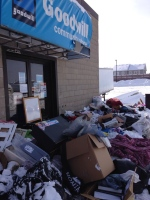 Donations pile up outside a now closed Goodwill location in Barrie, Ont. on Monday, Jan. 18, 2016. (Katherine Ward/ CTV Barrie)