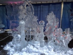 An ice sculpture can be seen inside one of the tents at Winterfest in Barrie, Ont. on Friday, Feb. 5, 2016. (Heather Butts/ CTV Barrie)