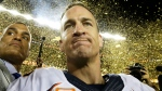 Denver Broncos' Peyton Manning (18) celebrates after the NFL Super Bowl 50 football game against the Carolina Panthers Sunday, Feb. 7, 2016 (AP / David J. Phillip).