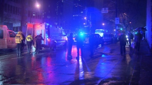 Five people have been arrested after a fight on a party bus in downtown Vancouver Friday night. Feb. 13, 2016. (CTV News).