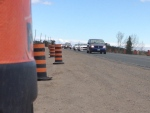 Construction pylons line County Road 90 in Simcoe County on May 2, 2016. (K.C. Colby/ CTV Barrie)