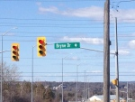 A street sign for Bryne Drive can be seen in Barrie, Ont. on Monday May 2, 2016. (Katherine Ward/ CTV Barrie)