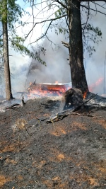 A brush fire in Huntsville Monday afternoon caused $30,000 in damage. (Huntsville/Lake of Bays Fire Department)