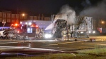 Toronto Fire Services were on the scene after a fatal collision on Highway 400. Police have yet to confirm the exact number of fatalities. (Pascal Marchand)