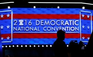 A member of the media shoots video during setup before the 2016 Democratic Convention, Sunday, July 24, 2016, in Philadelphia. (AP Photo/John Locher)