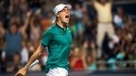 Denis Shapovalov, of Canada, celebrates a win in three sets against Nick Kyrgios, of Austrailia, during men's first round Rogers Cup tennis action in Toronto on Monday, July 25, 2016. (THE CANADIAN PRESS/Aaron Vincent Elkaim)