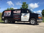 The OPP van traveling around Ontario to raise awareness of the unsolved murder of Frederick Hatch is pictured on Monday, Aug. 29, 2016. (Victoria Levy / CTV Kitchener)