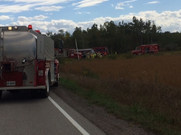 Emergency crews can be seen at a serious crash in Essa Township, Ont. on Tuesday, Sept. 27, 2016. (Geoff Bruce/ CTV Barrie)