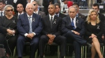 From left to right: Nechama Rivlin, the wife of the Israeli president, Israeli President Reuvin Rivlin, U.S. President Barack Obama, Israeli Prime Minister Benjamin Netanyahu and his wife Sara, sit during the funeral of former Israeli President and Prime minister Shimon Peres at the Mount Herzl national cemetery in Jerusalem on Friday, Sept. 30, 2016. (Menahem Kahana, Pool via AP)
