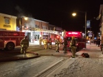 Firefighters battle a blaze at a vacant apartment unit in Penetanguishene, Ont. on Thursday, Dec. 9, 2016. (Chris Garry/ CTV Barrie)