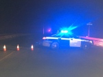 An OPP vehicle blocks the 6th Line in Mono, Ont. on Friday, Jan. 20, 2017 following a fatal crash. (Steve Mansbridge/ CTV Barrie)